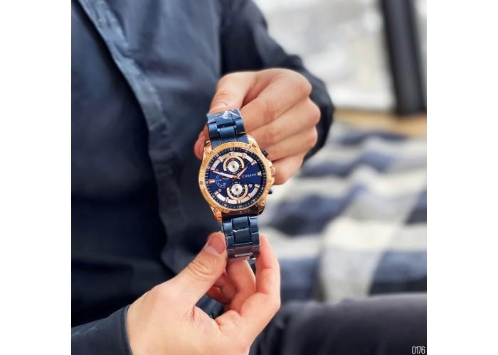 Мужские часы Curren 8360 Blue-Gold