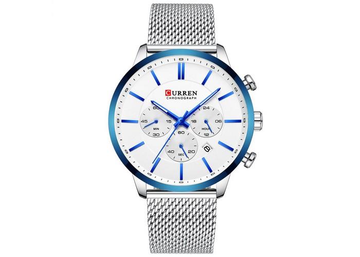 Мужские часы Curren 8340 Silver-Blue