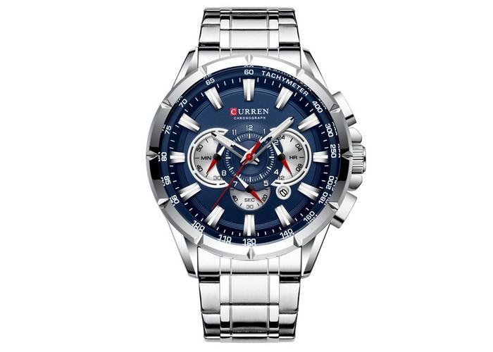 Мужские часы Curren 8363 Silver-Blue