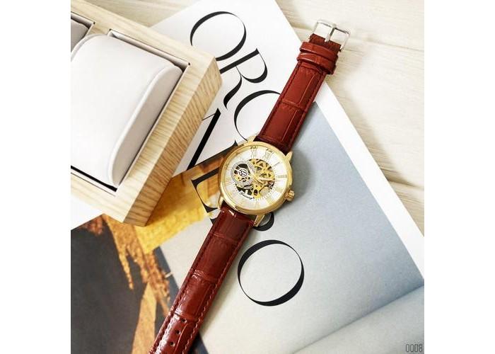 Мужские часы Forsining 8099 Brown-Gold-White