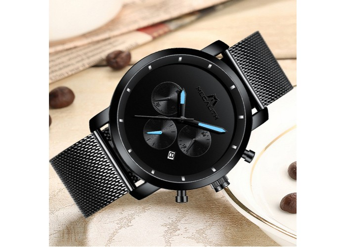 Мужские часы Megalith 8021M Black-Light Blue Metall