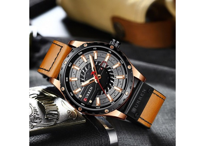 Мужские часы Curren 8374 Brown-Cuprum-Black
