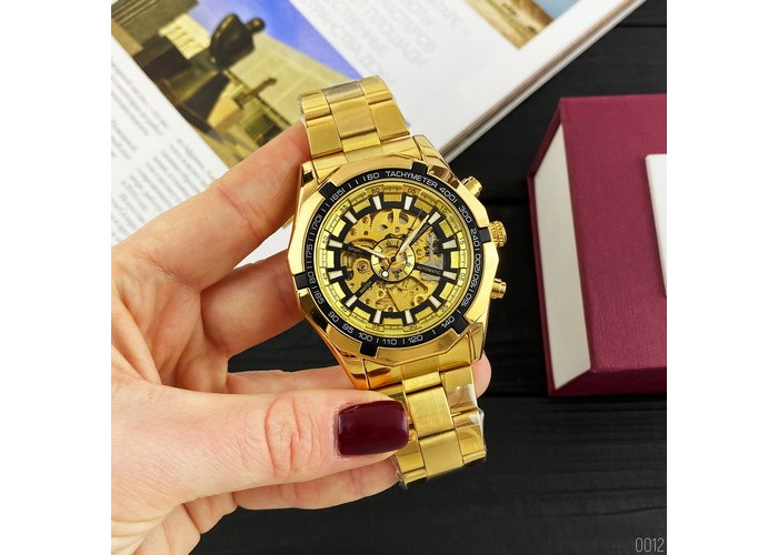 Мужские часы Forsining 8042 Gold-Black