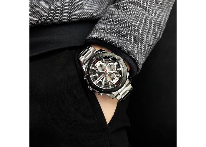 Мужские часы Curren 8336 Silver-Black