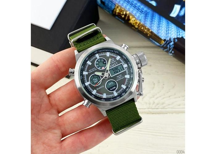 Мужские часы AMST 3003 Silver-Black Green Wristband