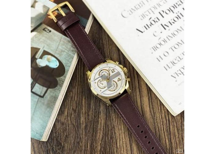 Мужские часы Guardo B01318-5 Dark Brown-Gold-White