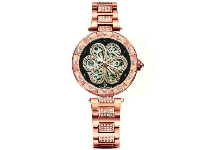 Женские часы Forsining Flower Diamonds Cuprum-Black