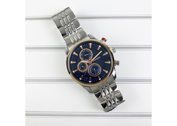 Мужские часы Guardo 011653-3 Silver-CuprumBlue