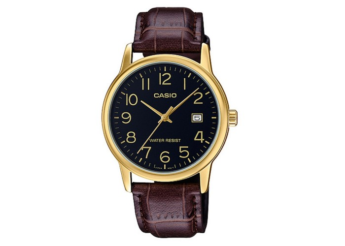 Мужские часы Casio MTP-V002GL-1BUDF Brown-Gold-Black