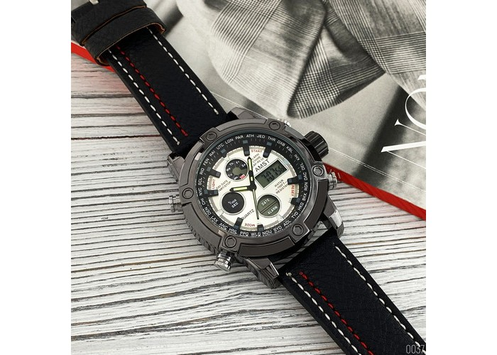 Мужские часы AMST 3022 Silver-Black-Silver Fluted Wristband