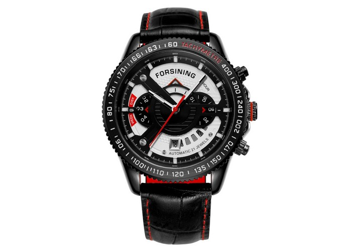 Мужские часы Forsining GMT1186 Black-Red-Whiter