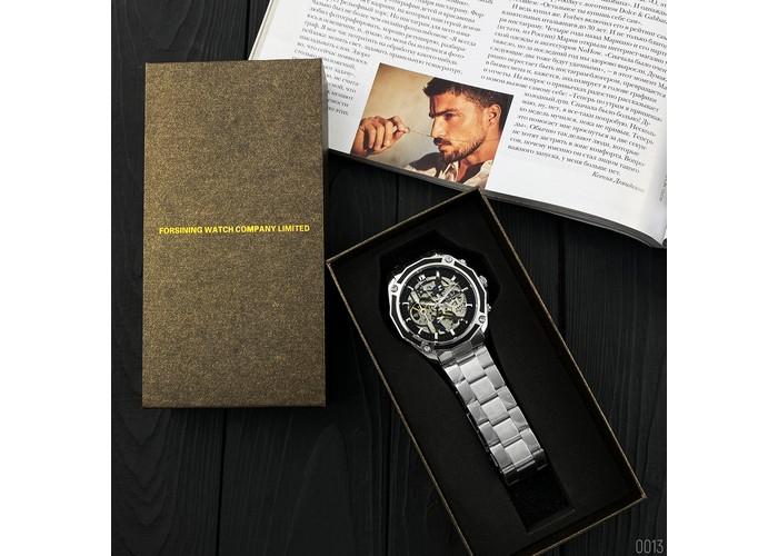 Мужские часы Forsining 8130 Silver-Black