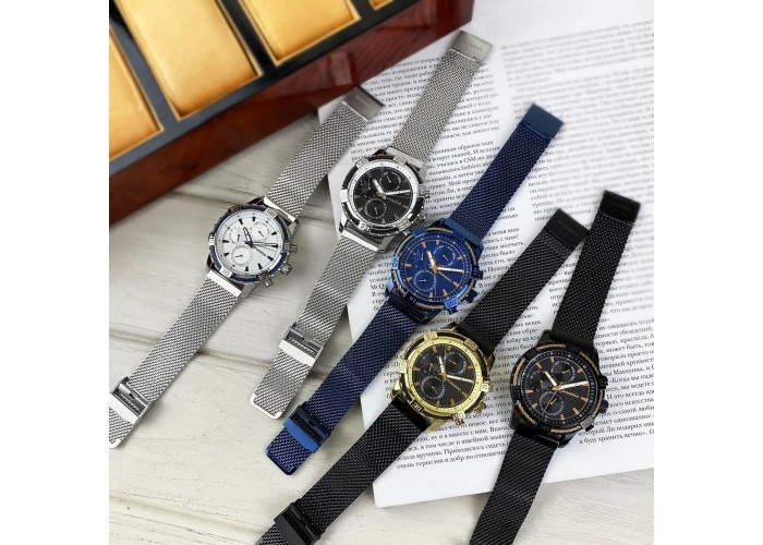 Мужские часы Guardo B01352(2)-2 Silver-Blue-White