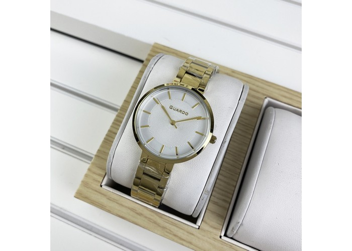 Женские часы Guardo 012505-3 Gold-White