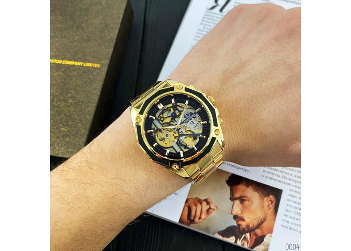 Мужские часы Forsining 8130 Gold-Black