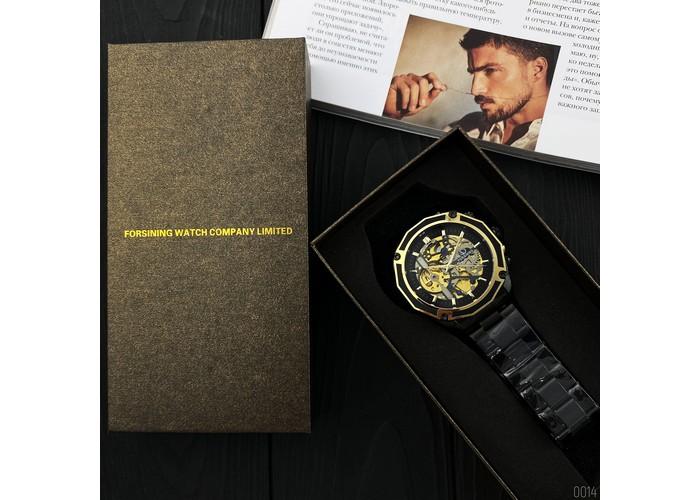 Мужские часы Forsining 8130 Black-Gold-Black