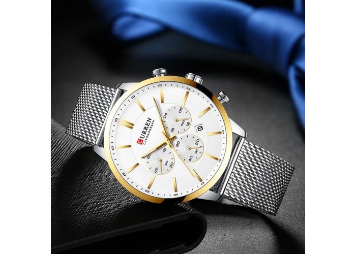 Мужские часы Curren 8340 Silver-Gold
