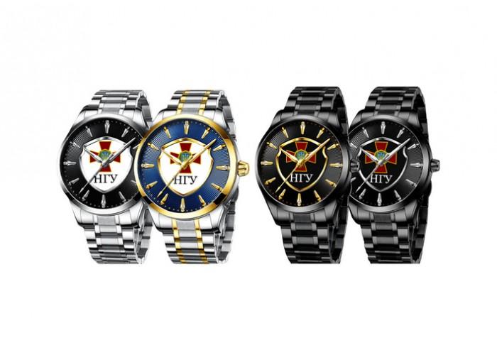 Мужские часы Chronte с логотипом НГУ Silver-Black-White