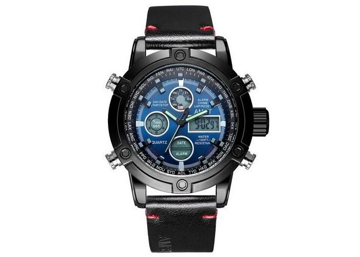 Мужские часы AMST 3022P Black-Blue Smooth Wristband
