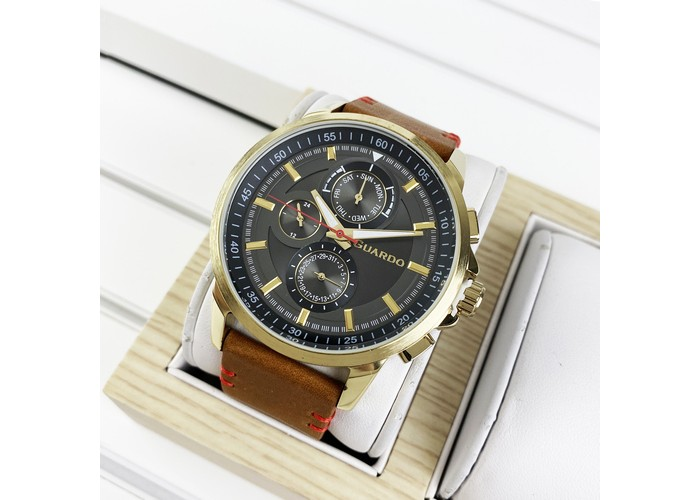 Мужские часы Guardo 11457-4 Brown-Gold-Gray